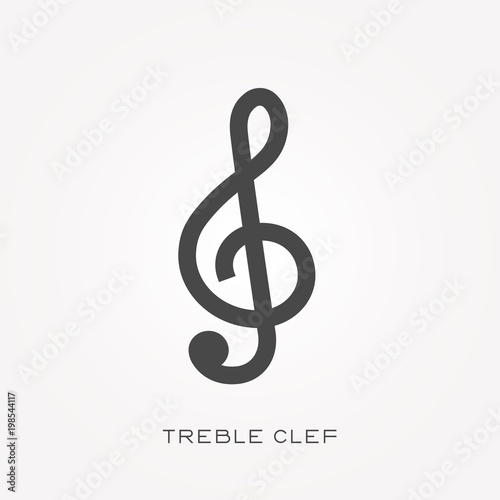 Silhouette icon treble clef Fototapeta
