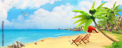 Sea panorama. Bay, tropical beach. Vector background