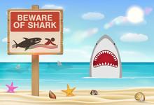 Beware Of Shark Sign On Sea Sa...