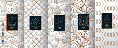 Fototapety, obrazy: Collection of design elements,labels,icon,frames, for packaging,design of luxury products.for perfume,soap,wine, lotion. Made with golden foil.Isolated on silver color background.vector illustration