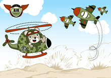 Airforce Cartoon With Cute Hel...