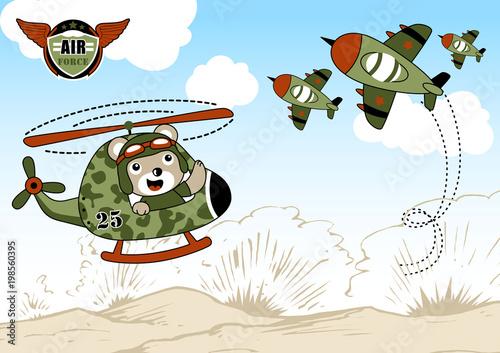 Airforce kreskówka z cute pilota helikoptera. EPS 10