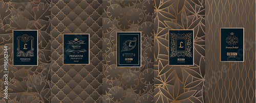 Fototapety, obrazy: Collection of design elements,labels,icon,frames, for packaging,design of luxury products.for perfume,soap,wine, lotion.Made with golden foil.Isolated on geometric background.vector illustration