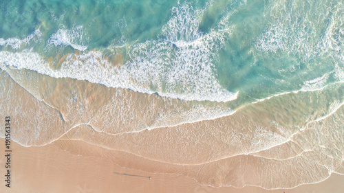 Keuken foto achterwand Strand Aerial View of Waves and Beach Along Great Ocean Road Australia at Sunset