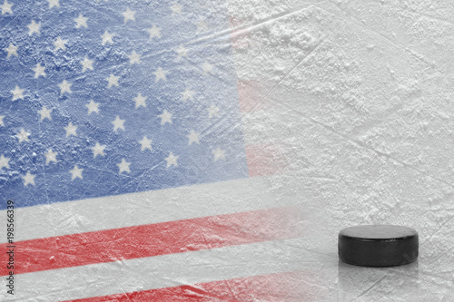 Image of the American flag with a hockey puck