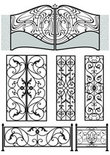 Vector Set Of Elegant Forged Metal Elements.