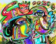 original digital art composition of human face, bird and red cat