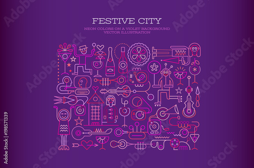 Foto op Canvas Abstractie Art Festive City
