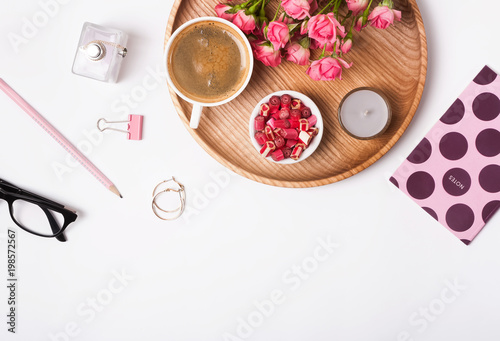 Foto op Aluminium Spa Feminine accessories, candies, coffee and roses on the white background,