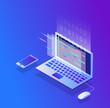 Programming and coding, Website development, Gradient isometric vector illustration