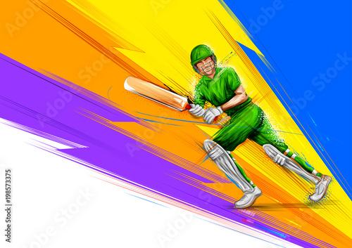 Fotomural Batsman playing cricket championship sports