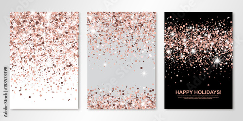 Banners set of three sheets with rose gold confetti ...