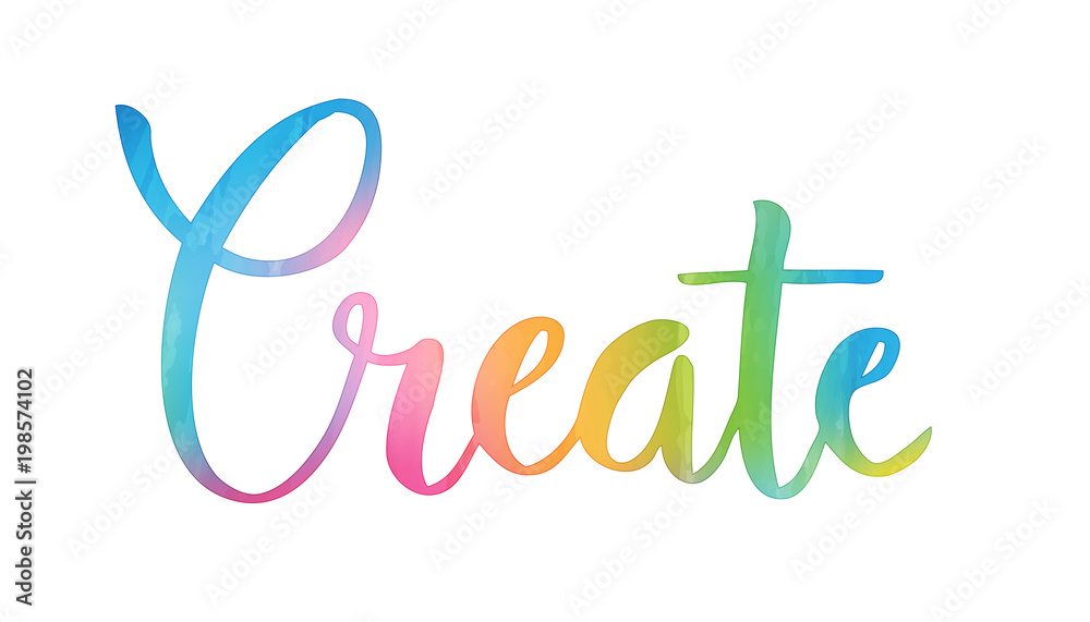 Fototapety, obrazy: CREATE hand lettering icon