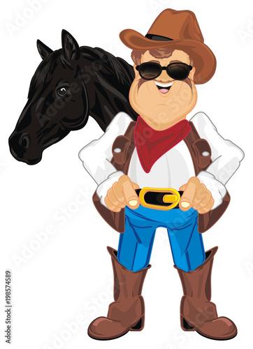 Fotobehang Boerderij cowboy, shepherd, ranch, man, police, sheriff, thief, robber, hat, ranch, farm, Texas, illustration, cartoon, horse