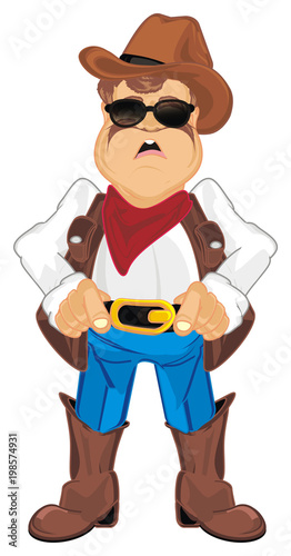 Fotobehang Boerderij cowboy, shepherd, ranch, man, police, sheriff, thief, robber, hat, ranch, farm, Texas, illustration, cartoon, surprise
