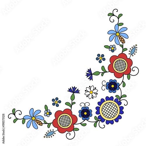 Fotografija  Traditional, modern Polish - Kashubian floral folk corner decoration vector