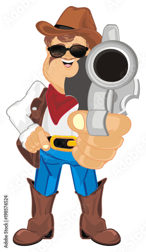 Fotobehang Boerderij cowboy, shepherd, ranch, man, police, sheriff, thief, robber, hat, ranch, farm, Texas, illustration, cartoon, gun, pistol