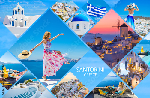 Obraz na plátně  Santorini postcard, collage of beautiful photos from famous Greek island