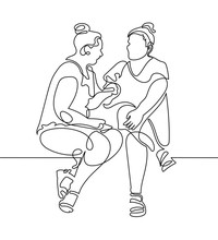 Continuous One Line Drawing Of Two Women Are Sitting And Talking