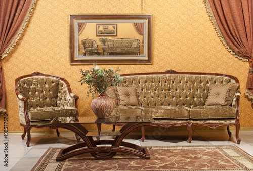 Empty Interior Living Room Background In Warm Colors Decorated With Classic Luxury Furniture Buy This Stock Photo And Explore Similar Images At Adobe Stock Adobe Stock