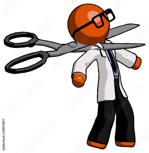 Fotografia, Obraz  Orange Doctor Scientist Man scissor beheading office worker execution