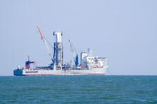 Deep Sea Drill Ship On Anchor...