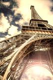 Fototapeta Eiffel Tower - veduta vintage della Torre Eiffel