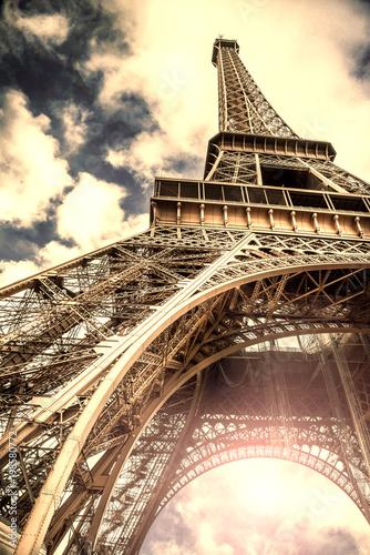 Deurstickers Eiffeltoren veduta vintage della Torre Eiffel