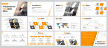 Set Of Business Slides For Presentation With Diagonal And Transparent Design Elements And A Place For Photos.