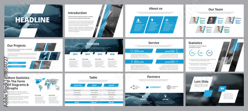 Templates of vector white-blue slides for presentation and reports