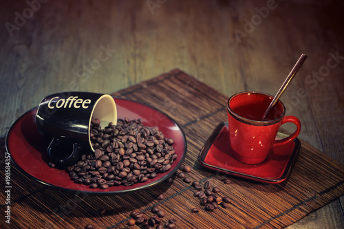 Door stickers Coffee beans grains de café avec tasse