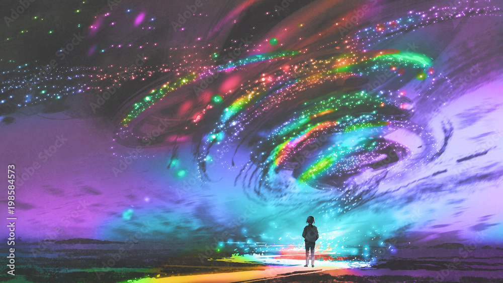 Fototapety, obrazy: little girl standing in front of fantasy cosmic storm, the black tornado with colorful stars, digital art style, illustration painting