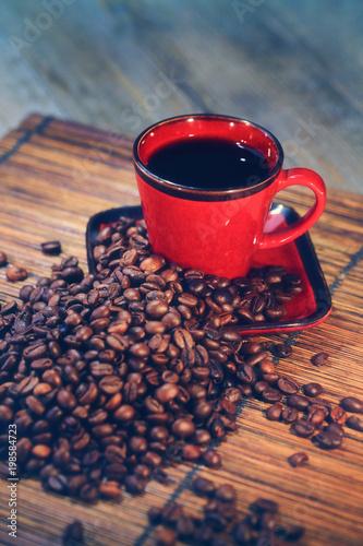 Wall Murals Coffee beans grains de café avec tasse