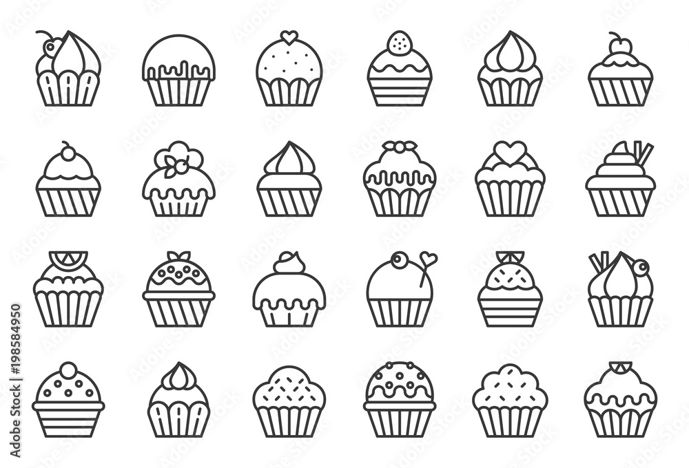 Photo  set of cupcake in various style, outline icon