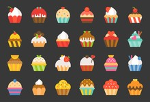 Set Of Cupcake In Various Style, Flat Design Icon