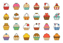 Set Of Cupcake In Various Styl...
