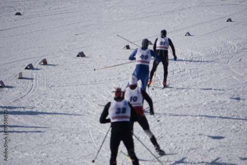 Fotobehang Wintersporten Winter sports in Bavaria - Skating and cross country ski trail. A women and a man at cross-country skiing .