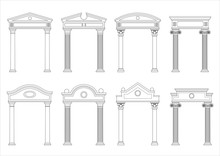A Set Of Silhouettes Of Classic Vintage Arches And Facades. Templates For Colorings. Vector Graphics. Architectural Elements Of Pediments
