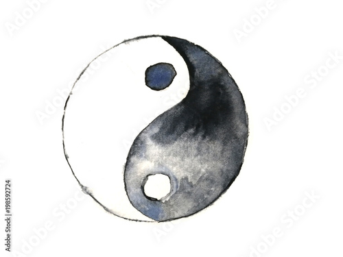 watercolor yin yang symbol isolated on white background Billede på lærred