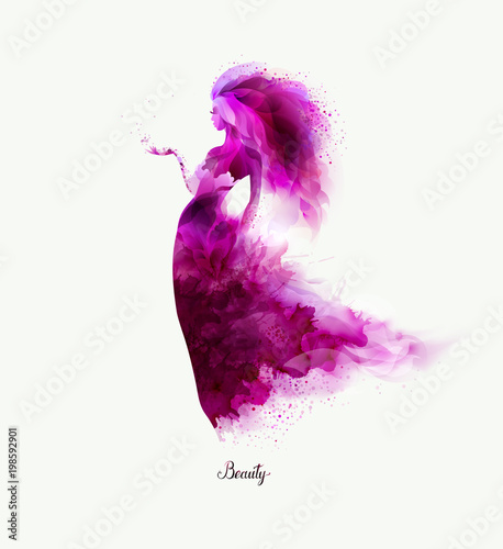 Purple decorative composition with girl on the white background. Magenta particles formed abstract woman figure.