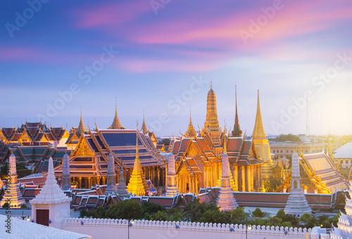 Poster Bangkok Bangkok famous iconic landmark. This Wat Phra Keaw while sunset in Bangkok, Thailand