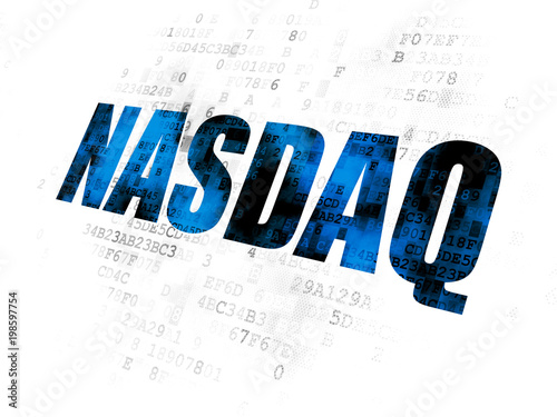 Fotografie, Obraz Stock market indexes concept: Pixelated blue text NASDAQ on Digital background