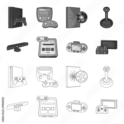Game And TV Settop Box Outlinemonochrome Icons In Set Collection - Game outline