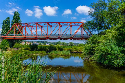 Steel road bridge crossing the Sorraia River which flows into the Tagus River, in Portugal Canvas-taulu