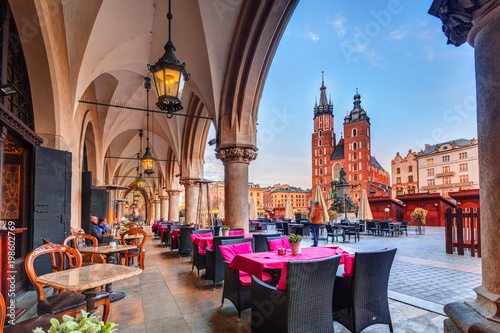 plakat Krakow cloth hall and St. Mary Basilica in Poland
