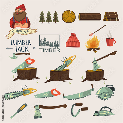 Lumberjack Timber And Woodworking Tools Vector Cartoon Icons Set