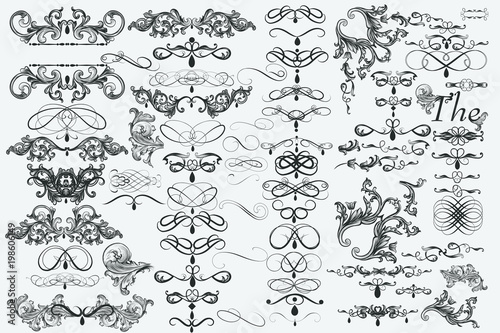 Leinwand Poster  Big collection of vector flourishes for design