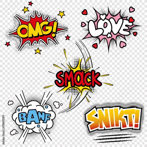 Printed kitchen splashbacks vector illustrations of comic sound effects
