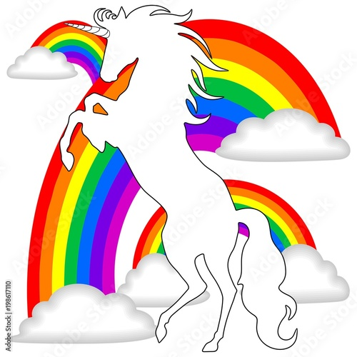 Keuken foto achterwand Draw White Unicorn on Rainbows Background