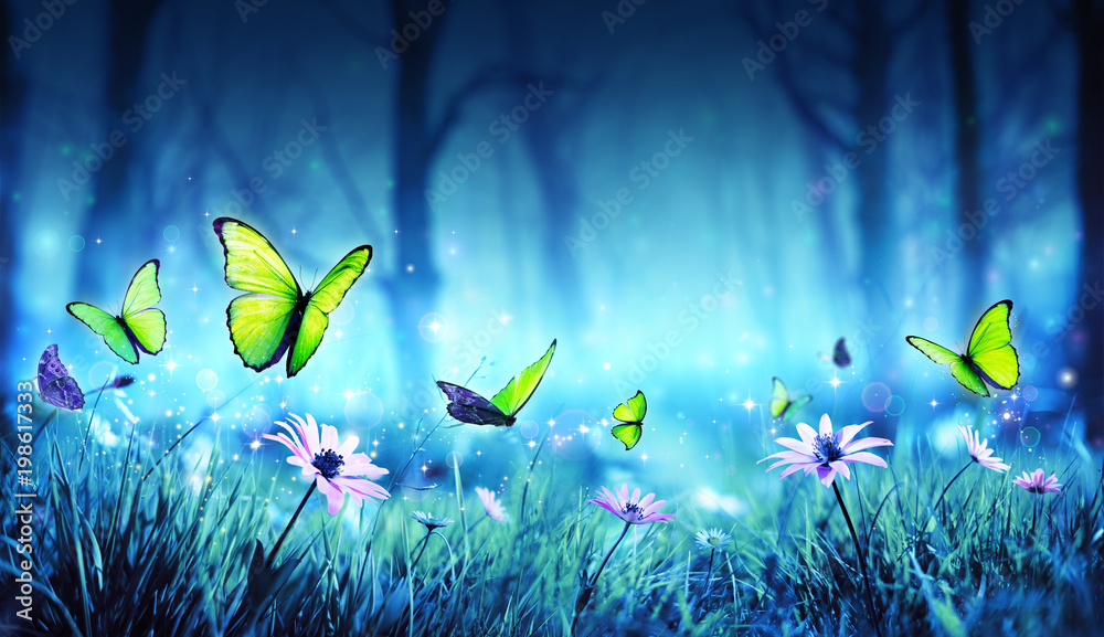 Fototapeta Fairy Butterflies In Mystic Forest